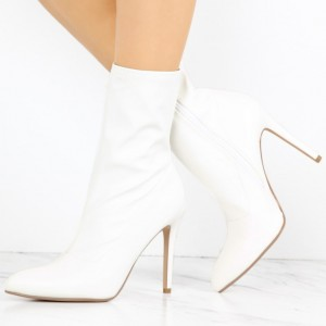 White Lycra Pointy Toe Stiletto Heel Fashion Ankle Booties