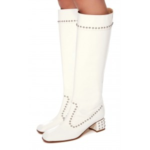 Women's White Vegan Leather Chunky Heels Knee Boots with Studs