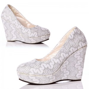 Womens White Wedding Shoes Almond Toe Lace Wedge Heels Pumps