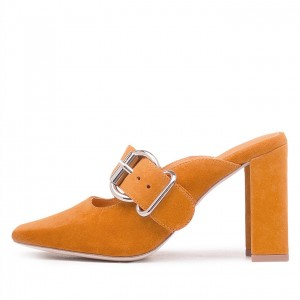 Women's Yellow Buckle Block Heel Square Toe Mules