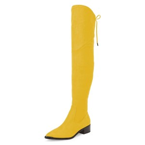 Women's Yellow Suede Chunky Heel Boots Pointy Toe Thigh-high Boots