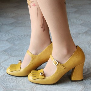 Women's Yellow Chunky Heels Mary Jane Shoes Round Toe Tassels Vintage Shoes