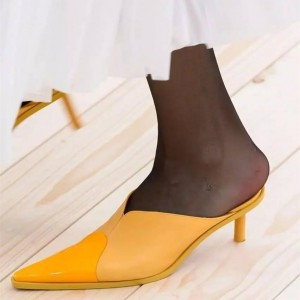 Women's Yellow Kitten Heels Pointy Toe Mule Sandals