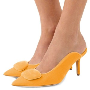 Women's Yellow Pointy Toe Elegant Stiletto Heel Mules