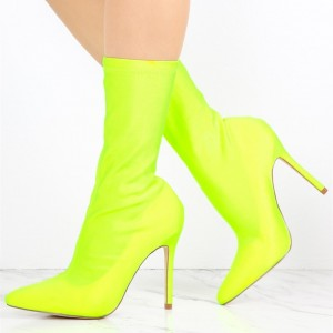 Neon Sock Boots Lycra Pointy Toe Stiletto Heel Mid Calf Booties