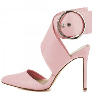 Chole Pink Strap Accrossed Round Ankle Pumps