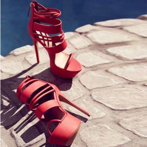 Women's Coral Red Strappy Stripper Heels Elegant Fashion Sandals