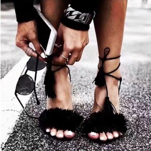Women's Black Fringe Stiletto Heels Open Toe Ankle Strap Sandals