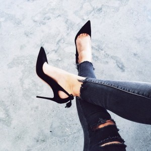 Black Suede Shoes Stiletto Heel Pointy Toe Pumps with Tassels