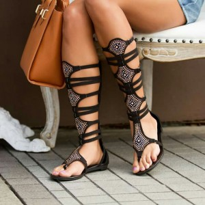 Black Gladiator Sandals Mid-calf Rhinestone Flats