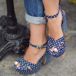Women's Navy White Polka Dots Chunky Heel Ankle Strap Sandals