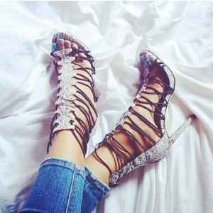 Women Light Grey Stiletto Heels Dress Shoes Python Open Toe Strappy Sandals