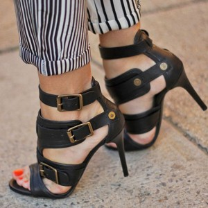 Black Stiletto Heels Buckles Open Toe Sexy Sandals