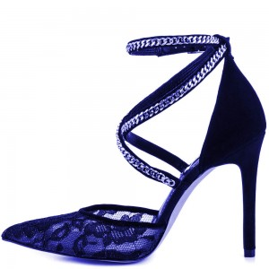 Blue Lace Heels Ankle Strap Closed Toe Sandals for Women