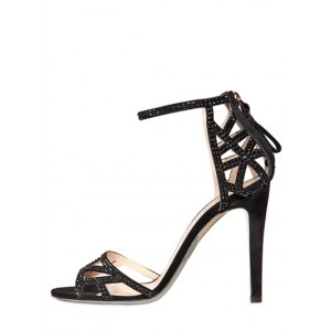 Black Ankle Strap Sandals Open Toe Sequined Stiletto Heels
