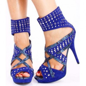 Dark Blue Silver Studs Ankle Wrapped Stiletto Heel Stripper Shoes