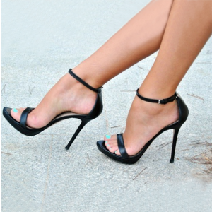 Women's Black Ankle Strap Sandals Sexy Stiletto Heels Office Sandals