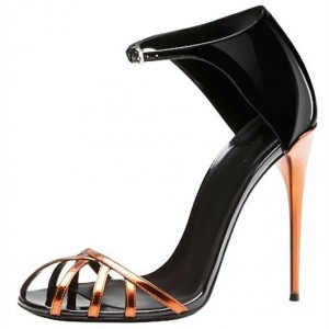 Women's Leila Black Golden Caged Toe Stiletto Heel Ankle Strap Sandals