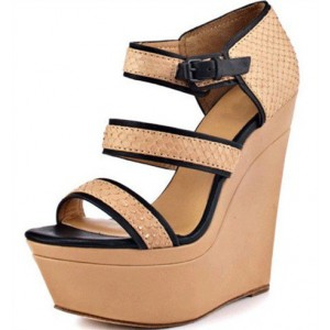 Khaki Wedge Sandals Open Toe Python Platform Shoes