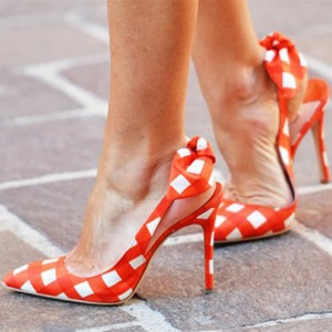 Orange Slingback Pumps Pointy Toe Plaid Cute Shoes with Bow
