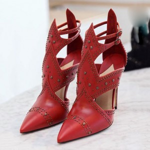 Women's Coral Red Grey Studs Pointed Toe Stiletto Heel Pumps