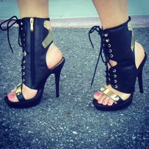 Black and Gold Lace up Heels Open Toe Slingback Ankle Booties