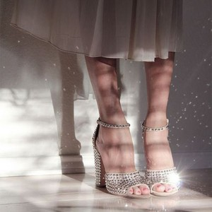 Beige Wedding Sandals Peep Toe Ankle Strap Studded Chunky Heels