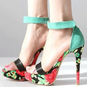 Women's Turquoise Stiletto Heels Dress Shoes Floral Platform Ankle Strap Sandals