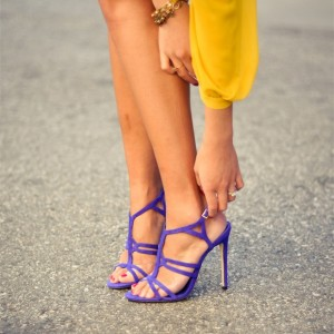 Purple Open Toe Stiletto Heels Ankle Strap Sandals for Women