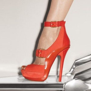 Zoe Orange Buckle Ankle Strap Stiletto Heel Sandals