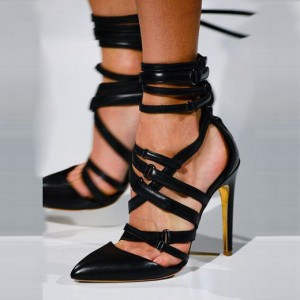 Leila Black Pointed Toe Buckle Strappy Stiletto Heel Sandals