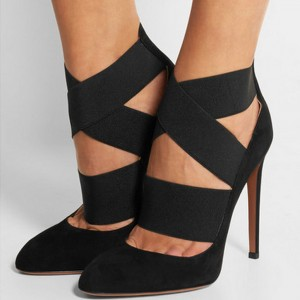 Black Stiletto Heels Suede Closed Toe Cross-over Strap Pumps