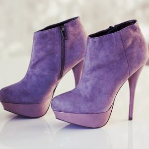 Purple Platform Boots Stiletto Heels Suede Ankle Booties for Female