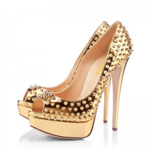 Women's Golden Rivets Stiletto Pumps Heels  Platform Stripper Heels Shoes