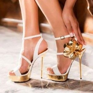 White and Gold Evening Shoes Floral Platform Stiletto Heels Sandals