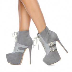 Women's Vita Grey Lace up Boots Stiletto Buckles Platform Ankle Boots
