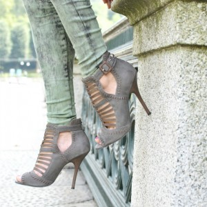 Grey Stiletto Heels Peep Toe Hollow out Ankle Booties for Female