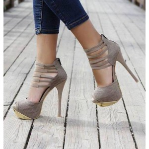 Vita Grey Peep Toe Ankle Strappy Stiletto Heel Sandals