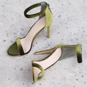 Green Ankle Strap Sandals Suede Open Toe Stiletto Heels