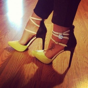 Yellow and Black Dress Shoes Sandals Buckles Stiletto Heels Pumps