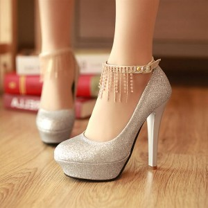 Silver Sparkly Heels Ankle Strap Pumps Glitter Shoes with Platform