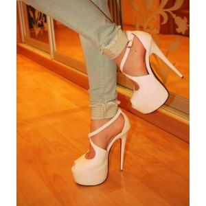 Ivory Heels Peep Toe Cross-over Strap Stilettos Platform Sandals