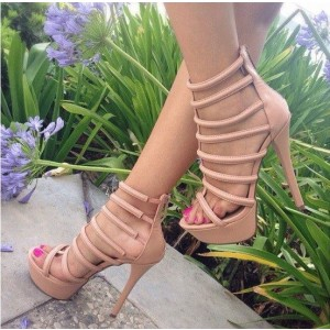 Nude Vegan Shoes Open Toe Stiletto Heel Platform Gladiator Heels
