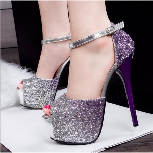 Purple Sparkly Heels Glitter Shoes Stiletto Heel Platform Sandals