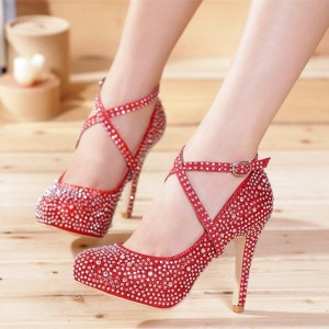 Red Evening Shoes Rhinestone Cross-over Strap Platform Pumps