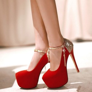 Red and Gold Evening Shoes Sparkly Platform Pumps High Heel Shoes