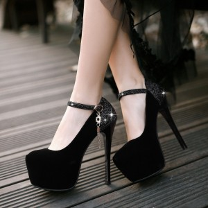 Black Platform Heels Glitter Suede Stilettos High Heel Shoes