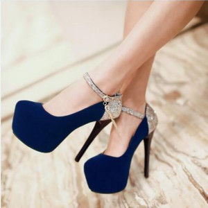 Navy Blue Heels Suede and Glitter Platform High Heel Shoes