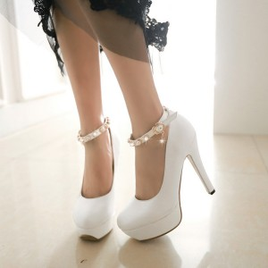 White Ankle Strap Stiletto Pumps with Platform Shoes