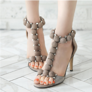 Beige Rivets T-bar Stiletto Heel Sandals